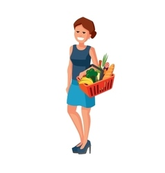 Woman with shopping basket vector
