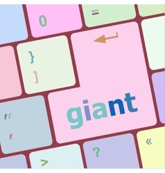 Giant word on keyboard key notebook computer vector