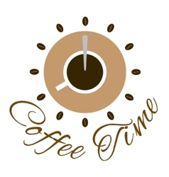 Coffee time logo design vector