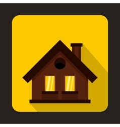Small brown cottage icon flat style vector