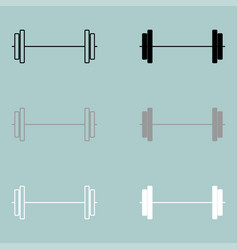 barbell black grey white icon vector image