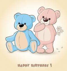 Birthday Card with Teddy Bears vector image vector image