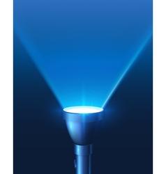Blue shining flashlight light background vector image