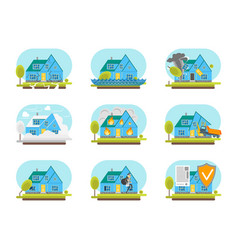 cartoon color house insurance service icons set vector image vector image