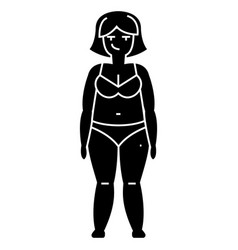 fat woman diet icon sign o vector image