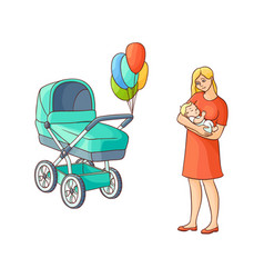 Flat girl standing near stroller with baby vector