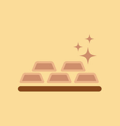 Flat icon on background poker gold bullion vector