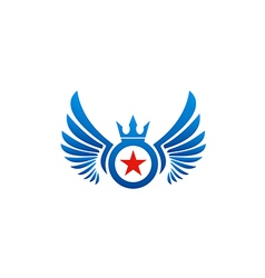 fly wing emblem star logo vector image