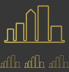 Golden line city logo design set vector