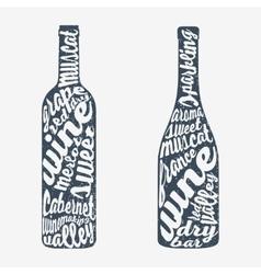 Hand lettering bottle of wine vector image