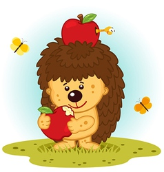Hedgehog with apples vector