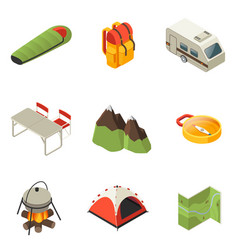 Isometric camping icons collection vector