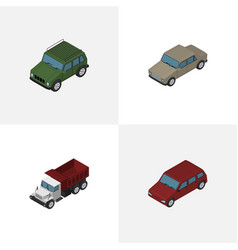 Isometric transport set of car armored freight vector