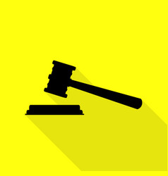 justice hammer sign black icon with flat style vector image vector image