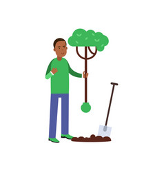man cartoon character planting a tree vector image