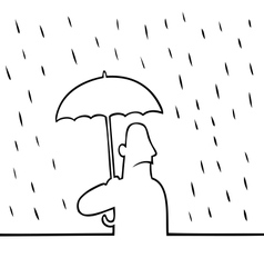 Man with umbrella in rain vector image vector image