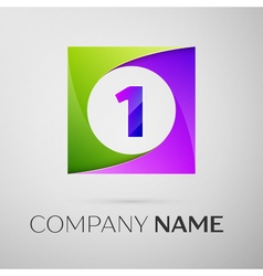 Number one logo symbol in the colorful square on vector image vector image