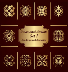 Ornamental elements set template for design and vector
