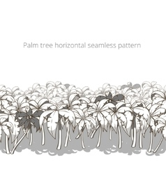 Palm tree horizontal pattern colorless vector