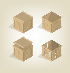realistic wooden box isometric vector image vector image
