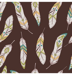 seamless ethnic pattern with feathers vector image vector image