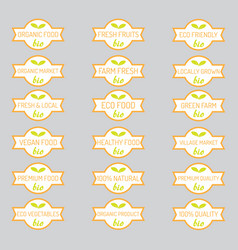 set of organic vegetables badges vector image