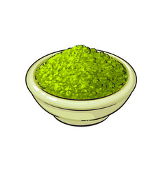 Sketch bowl of green mathca tea powder vector