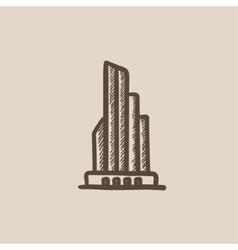 Skyscraper office building sketch icon vector image vector image