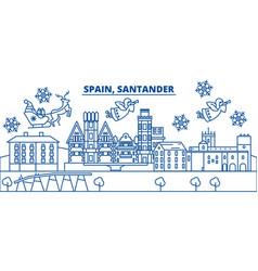 Spain santander winter city skyline merry vector