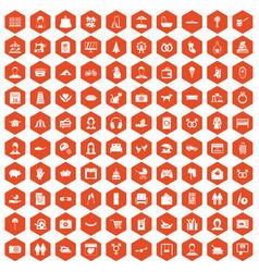 100 family icons hexagon orange vector