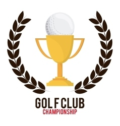 Trophy and wreath icon golf sport design vector