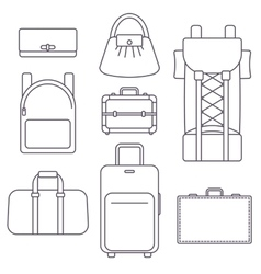 Different types of bags suitcase backpack and vector image