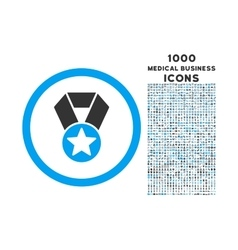 Champion medal rounded icon with 1000 bonus icons vector