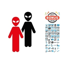 Aliens icon with 2017 year bonus pictograms vector