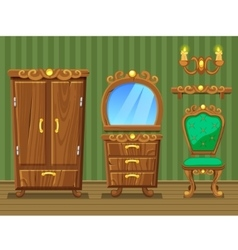 Set cartoon funny wooden retro furniture vector