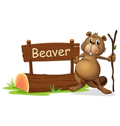 A signboard and a beaver with a stick vector