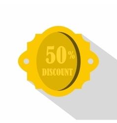 Golden sale label 50 percent off discount icon vector