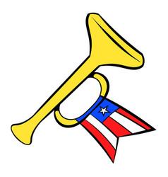 Trumpet with usa flag icon cartoon vector