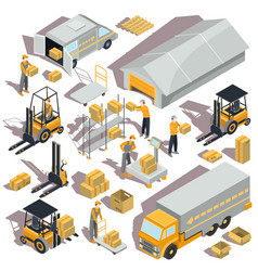 logistic and delivery isometric icons vector image