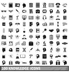 100 knowledge icons set simple style vector image