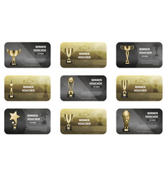 Winner voucher set in golden and silver colors vector