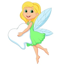 Cartoon a cute tooth fairy flying with tooth vector