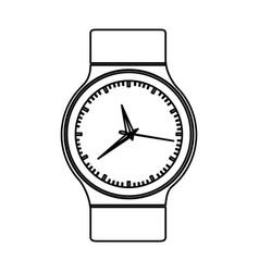 Monochrome contour with male wristwatch vector
