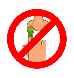 Forbidden to pick nose ban booger red prohibition vector