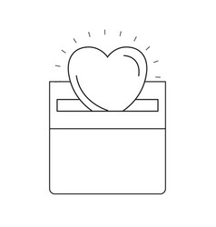 Silhouette front view flat heart depositing in a vector