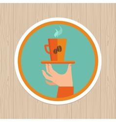 coffee mug on round emblem vector image