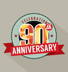 90th years anniversary celebration design vector