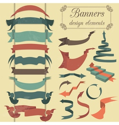 Set of retro ribbons and arrows banner vector