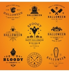 Happy Halloween day labels and badges vector image
