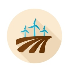 Windmill on the field flat icon with long shadow vector